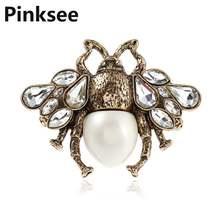 Multi-camada personalidade inseto anel de cristal abelha abertura anel vintage simulado pérola anéis para mulher jóias acessórios