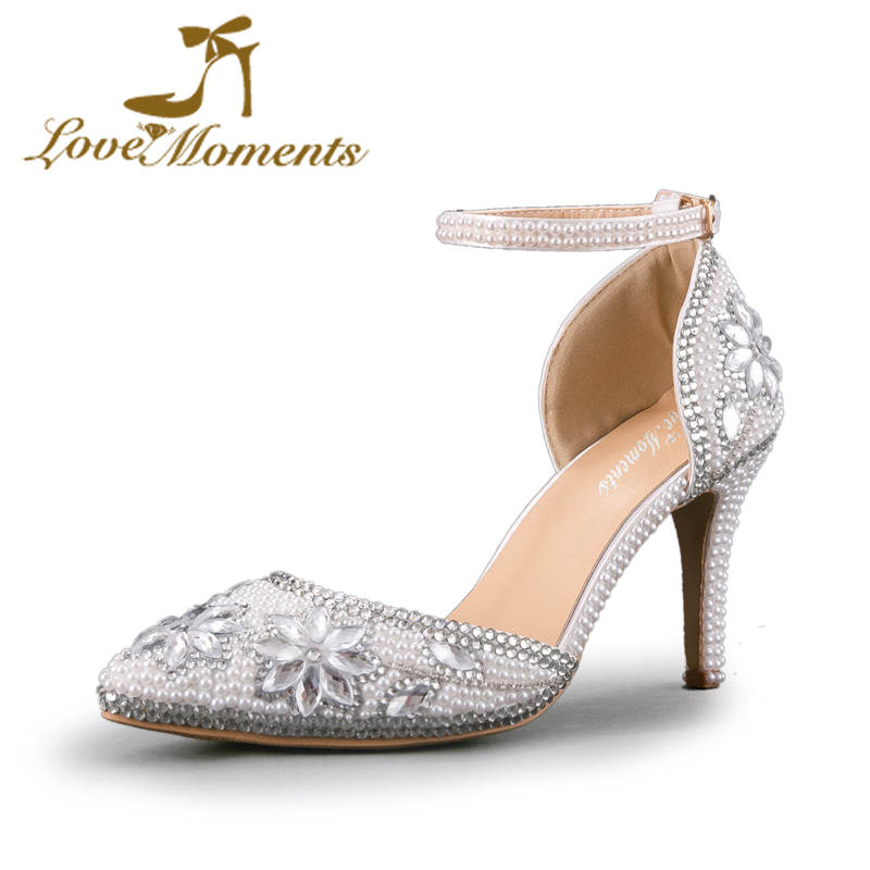 Love Moments Wedding shoes bride High Heels Women Pumps Pointed Toe buckle strap  handmade rhinestone crystal Party Dress shoes women pumps shoes pointed toe thin heels crystal shoes wedding shoes bridal shoes rhinestone handmade female high heeled