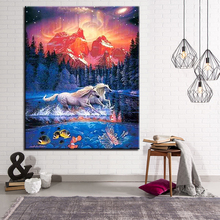 Abstract Canvas DIY Oil Painting By Numbers White Horse Running Art Pictures Fashion Home Decoration For Modern Living Room