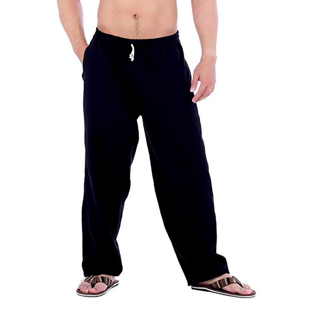 2019 Men's Slim Casual Linen Large Size Pocket Pants Sports Pants Men's Solid Color Pocket Loose Jogging Pants Fashion Jeans