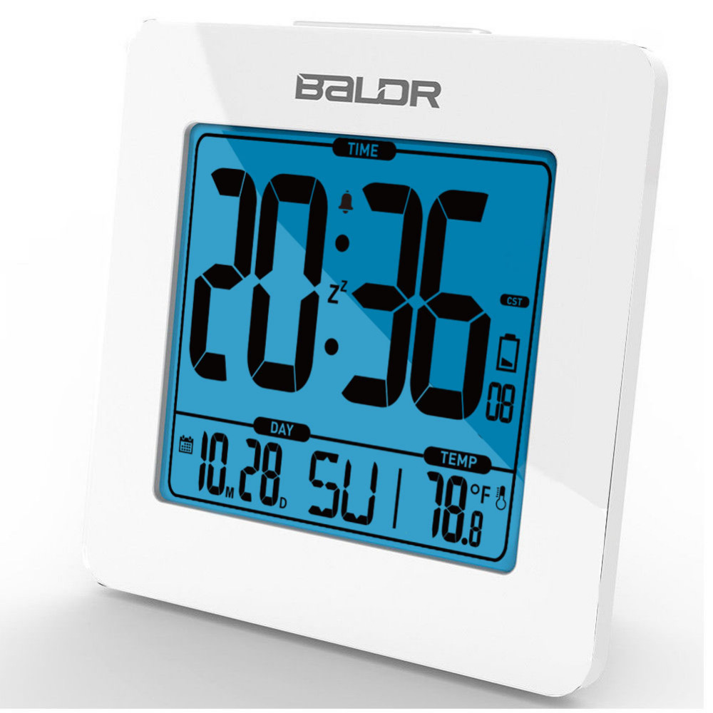 BALDR Thermometer Digital Snooze Alarm Clock Blue Backlight LCD Table Calendar Time Watch Desk Indoor Temperature Sensor Meter disun 3320 3w 2 1 ch 4 lcd sensing speaker w fm temperature time alarm clock blue white