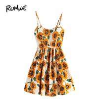 ROMWE Ngẫu Nhiên Sunflower In Spaghetti Dây Đeo Váy, cho Phụ Nữ Cami Dresses A Line Trượt Hoa Không Tay, Lan Tỏa Khắp Ren lên Trở Lại