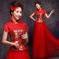 plus size lace cheongsam wedding dresses embroidery red lace cheongsam chiffon elegant bride wedding gown collar 3xl