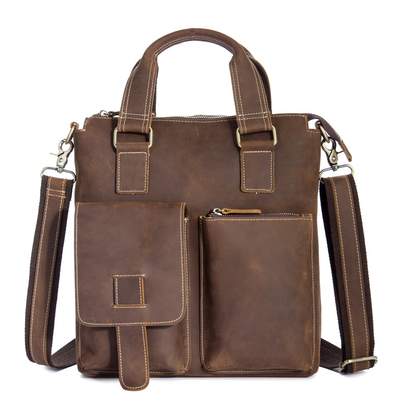 YISHEN Genuine Leather Men Business Handbag Briefcase Crazy Horse Leather Male Shoulder Crossbody Bags Vintage Casual Totes 1208 vintage genuine leather men briefcase bag business men s laptop notebook high quality crazy horse leather handbag shoulder bags