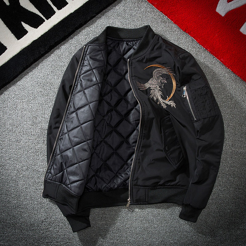Aolamegs Bomber Jacket Phoenix Embroidery Thick Men's Jacket Stand Collar Fashion Outwear Men Coat Bomb Baseball Jackets Winter (9)