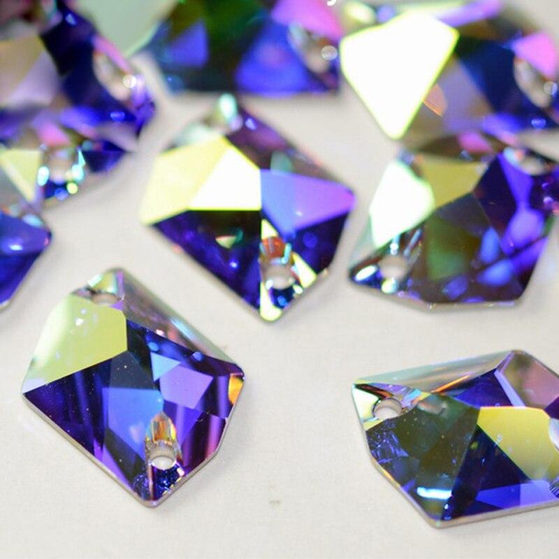 Crystal AB 3265 Cosmic Sew On Mirror Flat Back Rhinestones Sew On Vestiados Sewing Rhinestone Crystal Stone Glass Strass