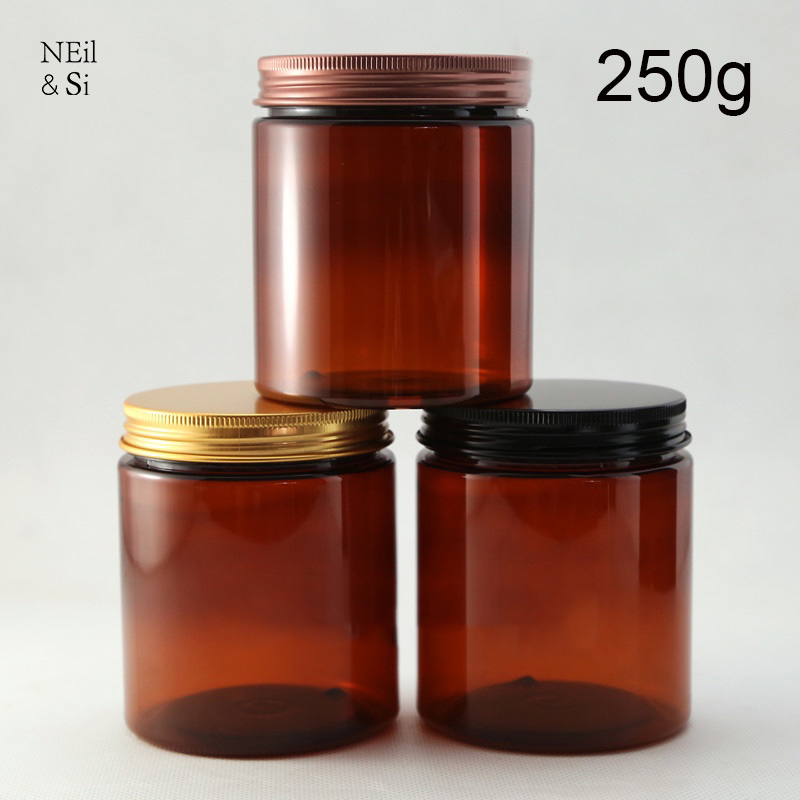 Brown Plastic 250g Cosmetic Cream Bottle Refillable Body Lotion Jar Empty Facial Mask Storage Containers Free