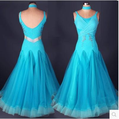 Obleka za plesni ples seksi seniorsko obleko z diamantnimi spandex - Odrska in plesna oblačila
