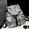Láser moda mochila celosía patrón de diamante geométrica bolsos de escuela del estudiante bolsas de viaje plegable