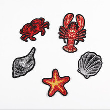 Marine Organism Lobster Crab Patch Embroidered Iron On Patches For Clothing Embroidery Design diy Phone Bag Accessories