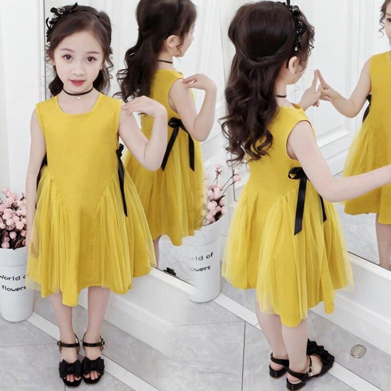CROAL CHERIE Yellow Party Princess Dress Girl Summer Kids Dresses for Girl Costume Fashion Children Girls Clothing Bow Dress 4