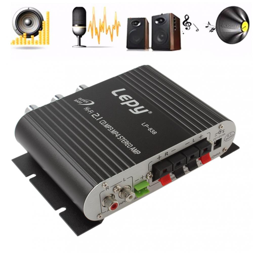 Lepy LP-838 Power Car Amplifier Hi-Fi 2.1 MP3 Radio Audio Stereo Bass Speaker Booster Player for Motorbike Home No Power Plug