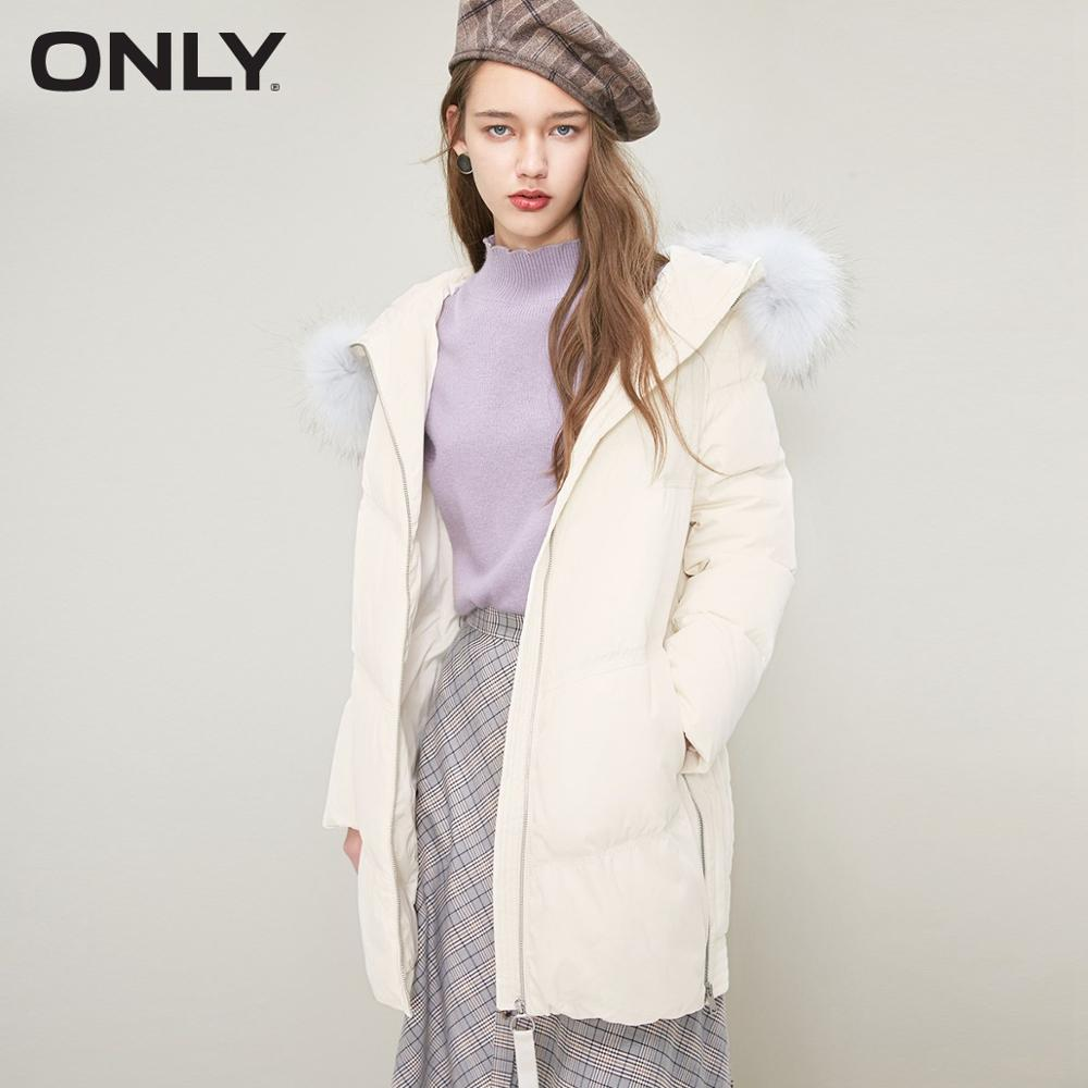 ONLY  Womens' Winter New Side Zipper Hooded Long Down Jacket Side Zipper Design Loop Zipper Decoration|118412502