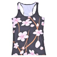 2016 New Summer Women Blue Black Floral Tops Gym Jogging Sports Tops For Women 6 Patterns