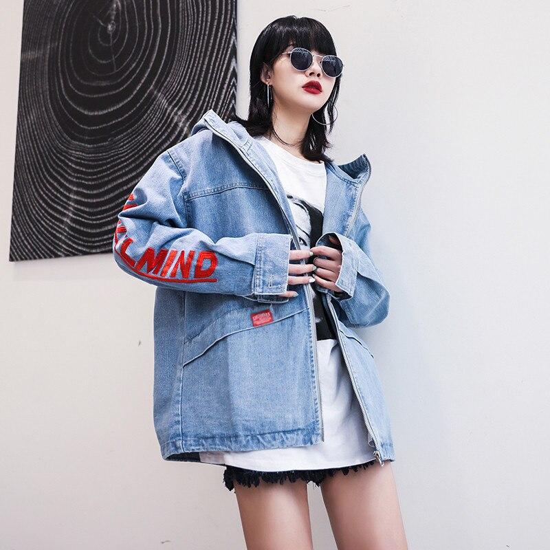 Chic 2019 Ciel Vestes D'aviateur À Nouvelles Denim Rétro Pu Capuche Lettre Broderie Décontracté Lâche En Mode Femmes Jeans Blousons Harajuku wPqxCHwt