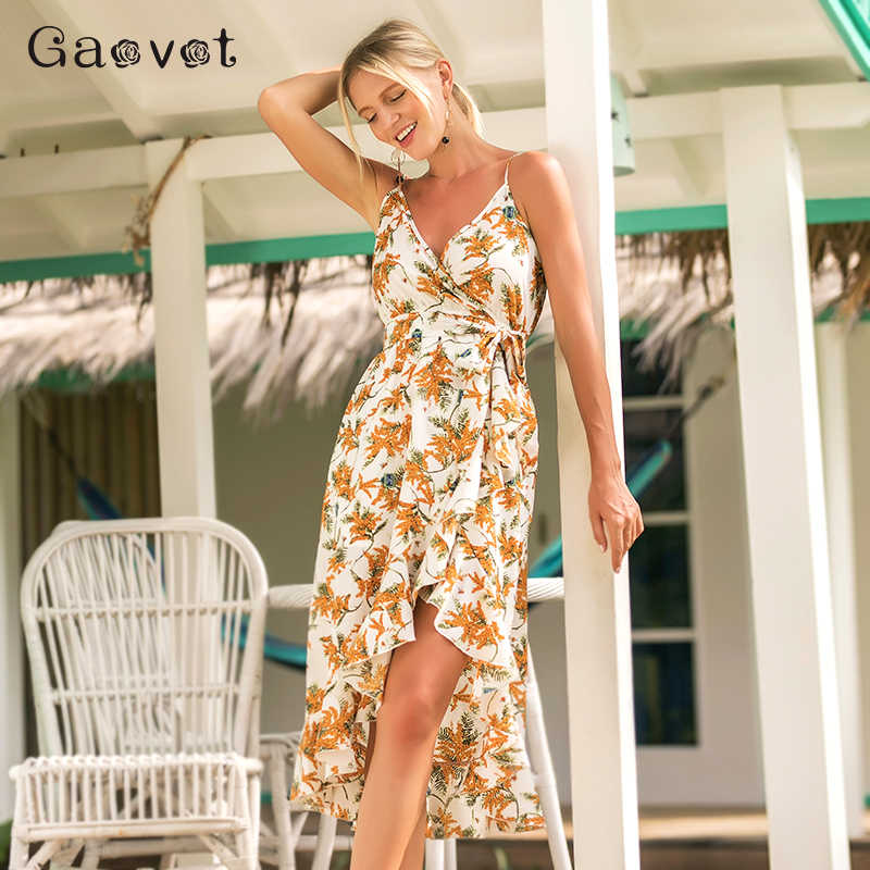 58c6fbf5800 Gaovot 2018 Summer Women Print Irregular Dresses Spaghetti Strap Deep V Neck  Sexy Boho Beach Holiday