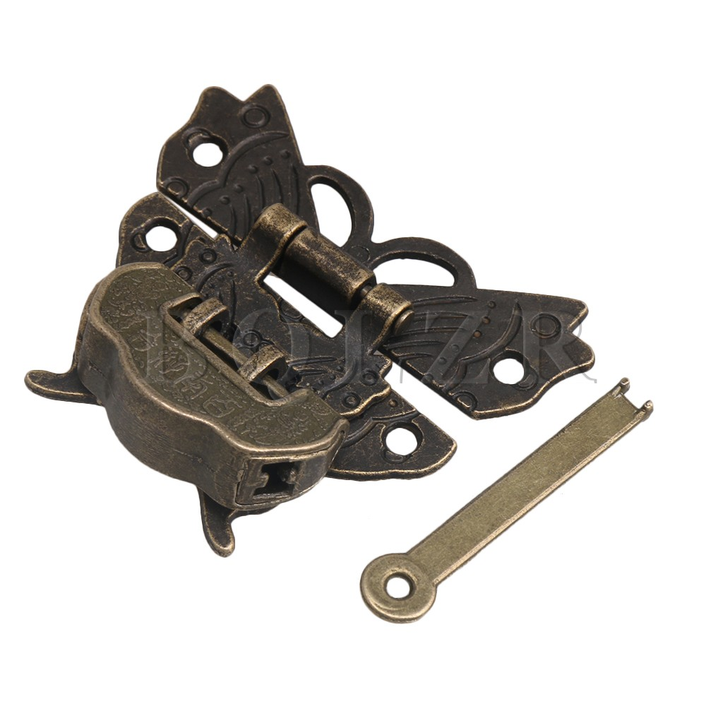 Key Antique Jewelry Box Buckle Bronze Butterfly Padlock Hasp With Lock