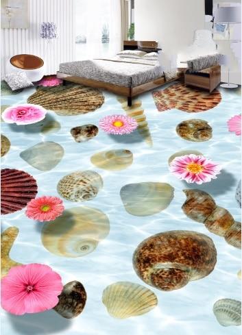 [Self-Adhesive] 3D Sea Shells Petal 8 Non-slip Waterproof Photo Self-Adhesive Floor Mural Sticker WallPaper Murals Wall Print