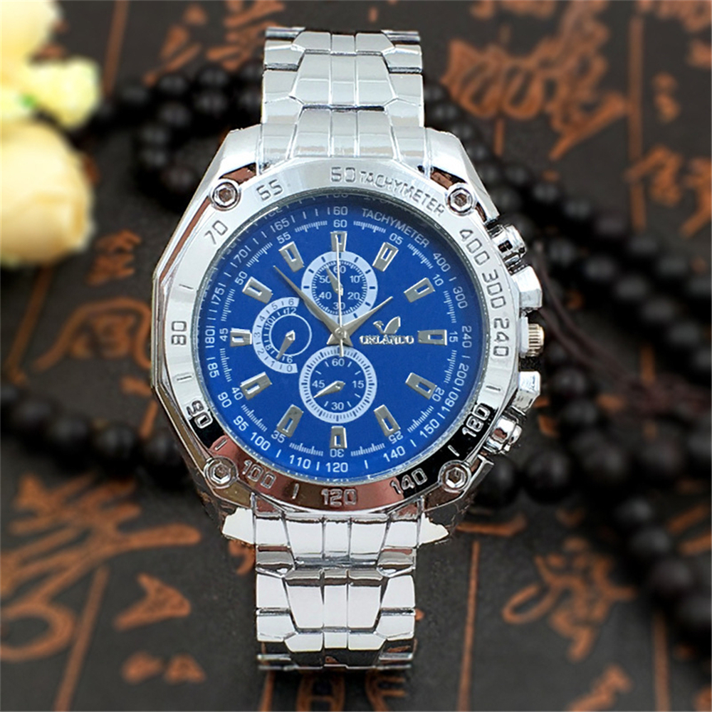 Steel Men Watch Classic Simulation Three Dials Clock Fashion Gold Stainless Steel Band Hour Business Male Quartz wrist watches iw 8758g 3 men s and women s quartz watch fabric classic canterbury stainless steel watch with multi color striped band