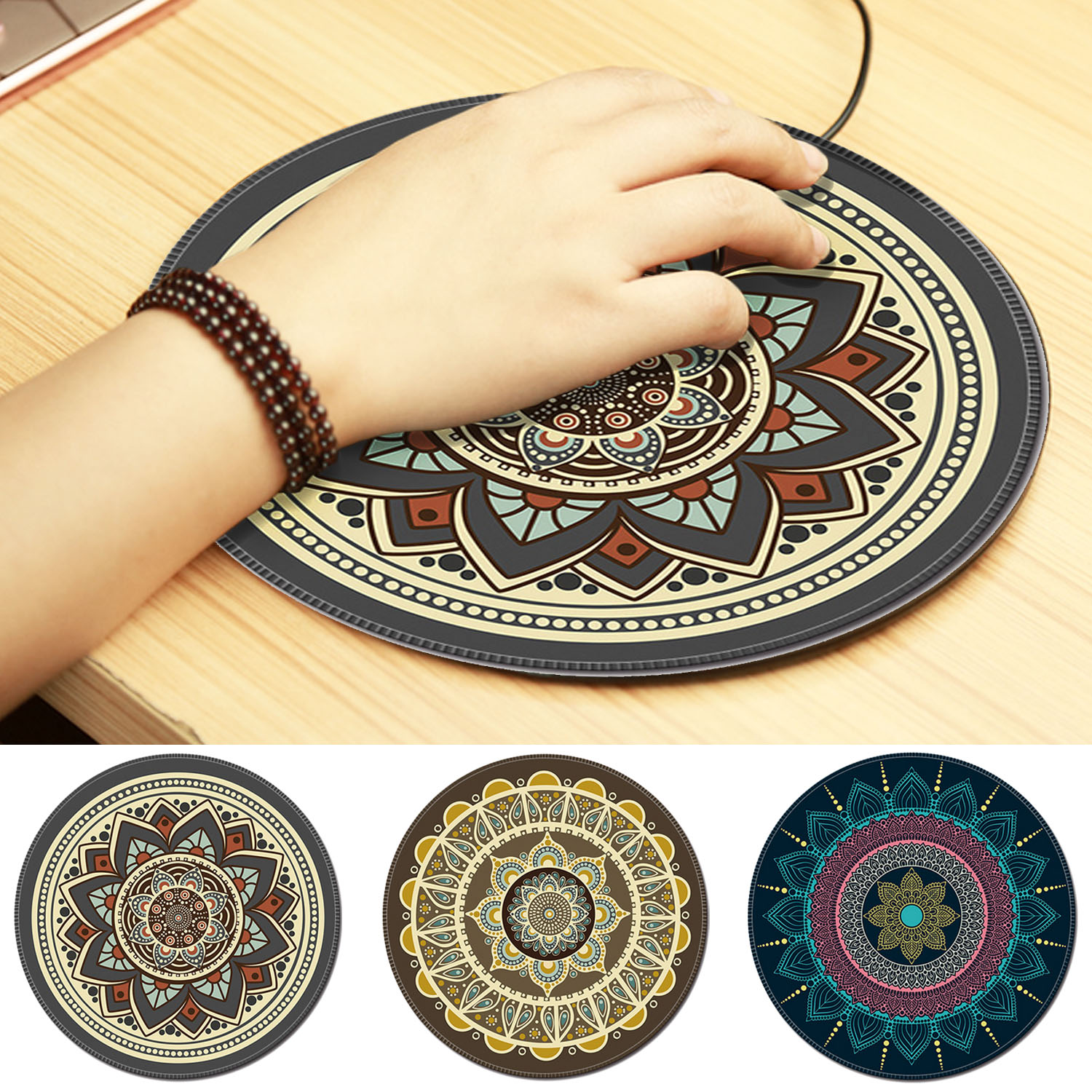 Nworld Vintage Bohemian Round Computer 3D Carpet Mouse Pad Mat Mousepad Anti Slip For Home Office PC Gaming LOL Overwatch CS GO