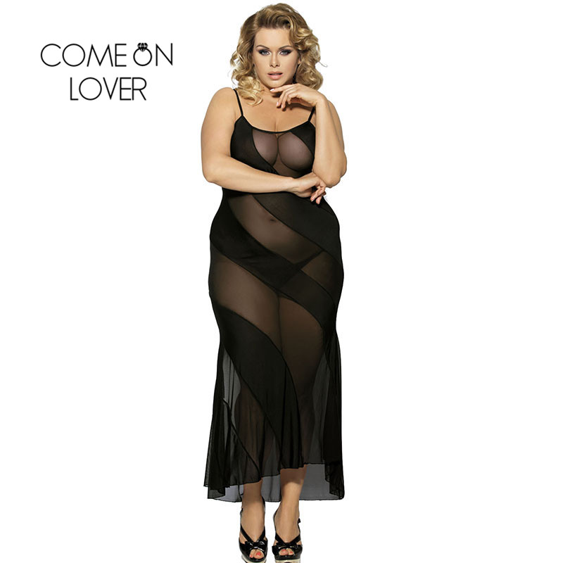I7389 Comeonlover Womens Nightdress With G-String See Through Black Plus Size Women Nightwear Sex Nightgowns Long Lingerie Gowns