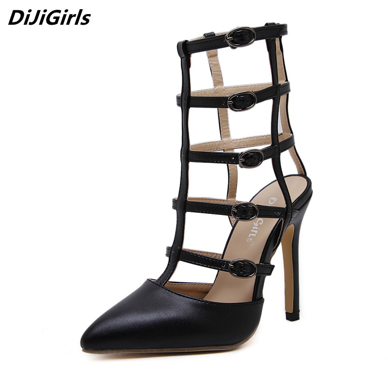 Sexy Gladiator sandals women closed pointed toe high heels cage sandles woman summer wedges buckle shoes ladies catwalk sandals