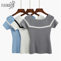 New Simple Striped Tees Women Knitted Slash Neck Tshirt Spring Kawaii T Shirt Gray Ice Silk