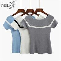 New Simple Striped Tees Women Knitted Slash Neck Tshirt Spring Kawaii T Shirt Gray Ice Silk