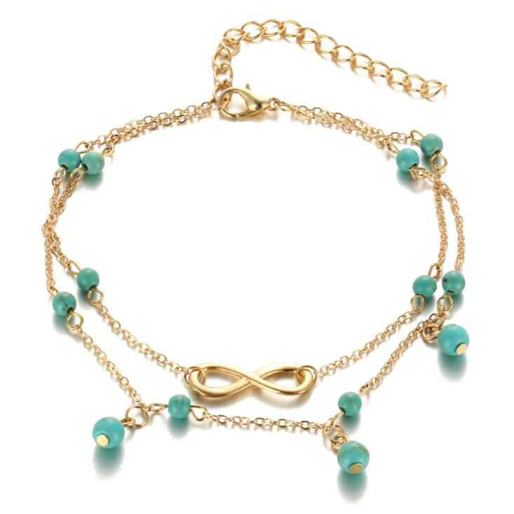 2017 New Double Infinite Beads Pendant Anklet Foot Chain Summer Bracelet Charm 2 Color Anklets Foot Jewelry Gift Drop shipping