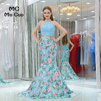 New 2017 Mermaid Prom Dresses With Print Pattern 2 Pieces Gown Long Graduation Dresses Off Shoulder