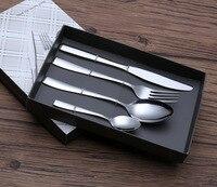 4pcs Lot High Quality Mirro Cutlery Set Stainless Steel Dinner Set Silver Fork Knife TeaSpoon Western