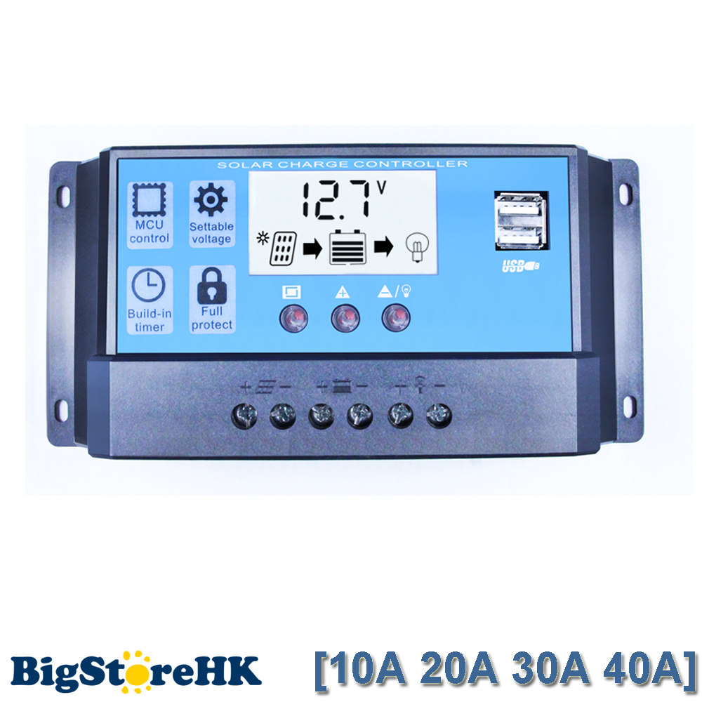Upgraded Solar Charge Controller 40A 30A 20A 10A Solar Regulator PWM 12V 24V Auto Bigger Display with Dual USB 5V Output Y-SOLAR