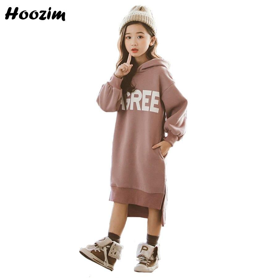 Winter Thick Warm Letter Velvet Hoodies Kids Fashion Children Clothes Autumn Long Sweatshirt For Girls 9 10 11 12 13 14 15 Years