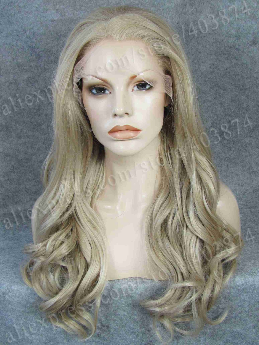 ФОТО Stunning Heat resistant long wavy drag queens synthetic lace front ash blond wig