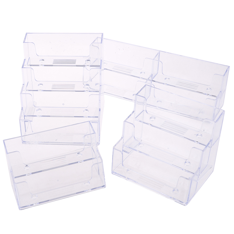 1//2//3 Pockets Acrylic Business Card Holder Stand Clear Desktop Countertop Office
