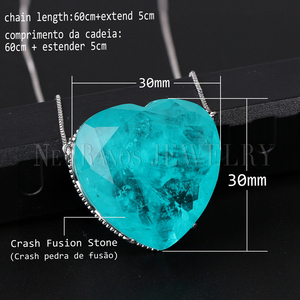 Image 2 - Newranos Pedra Fusion Stone Heart Necklace 10 Colors Birthstone Pendant Necklaces Crystal Long Chain Necklaces Party Jewelry