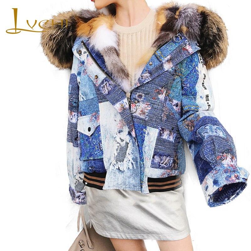 LVCHI Winter 2019 New Woman PARKA Fur Coat Long Sleeve Parker Coat With Fox Fur Collar Fox Fur Short Print PARKA Warm Fur Coats