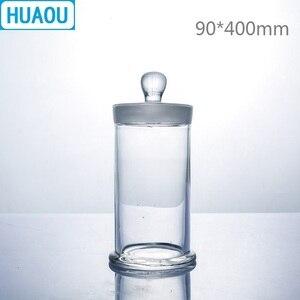 Image 1 - HUAOU 90*400mm słoik z próbką z pokrętłem i szklanym korkiem medyczna formalinowa butelka z formaldehydem