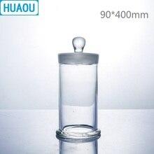Huaou 90*400 Mm Mẫu Vật Bình Với Núm Vặn Và Mặt Đất Trong Thủy Tinh Nắp Chặn Y Tế Formalin Formaldehyde Hiển Thị Bình
