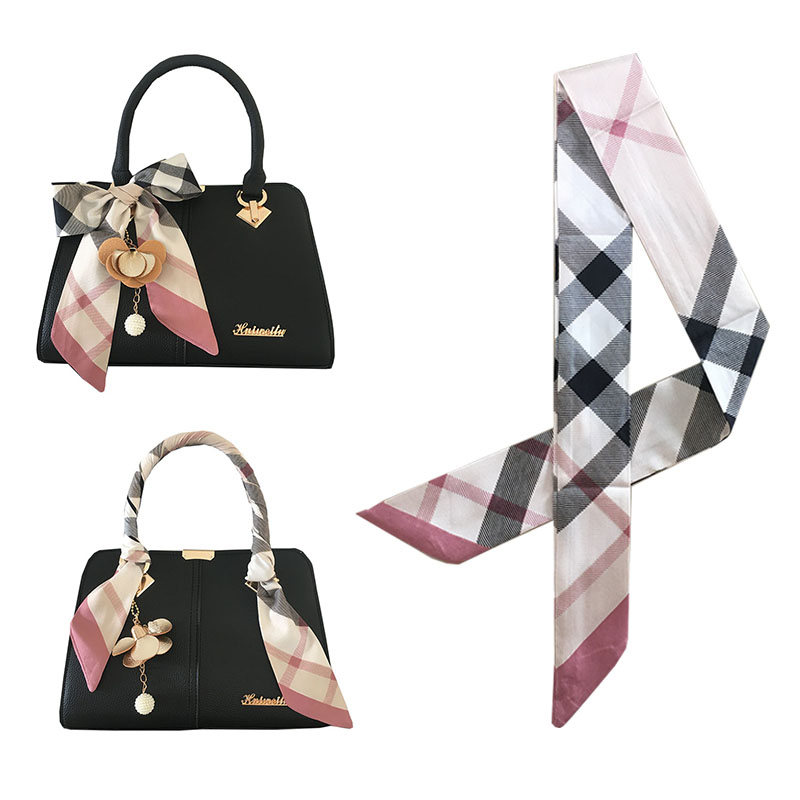 2019 New Bag Scarf For Women Luxury Brand Silk Foulard Vintage Plaided Print Patchwork Head Handle Bag Scarves For Ladies