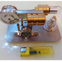 Stirling engine, model engine, external combustion micro generator, steam engine metal baseboard double cylinder micro diy stirling engine external combustion engine