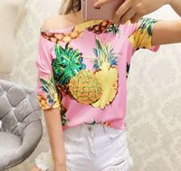 Discount T Shirts For Women Sequins Pineapple Embroidery Print Brand Design Tee Tops Female Summer Harajuku