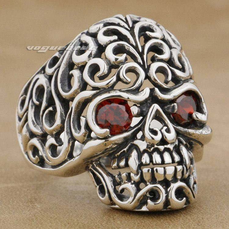 925 Sterling Silver Flourish Swirls Skull Red CZ Stone Mens Biker Ring 9G002 good group diy kit led display include p8 smd3in1 30pcs led modules 1 pcs rgb led controller 4 pcs led power supply