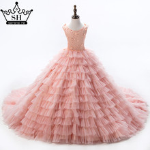 Baby Peach Tiered Sequins Pageant Dresses For Girls Glitz Flower Girl Dresses Sleeveless Ball Gowns Girls Communion Dress 2017