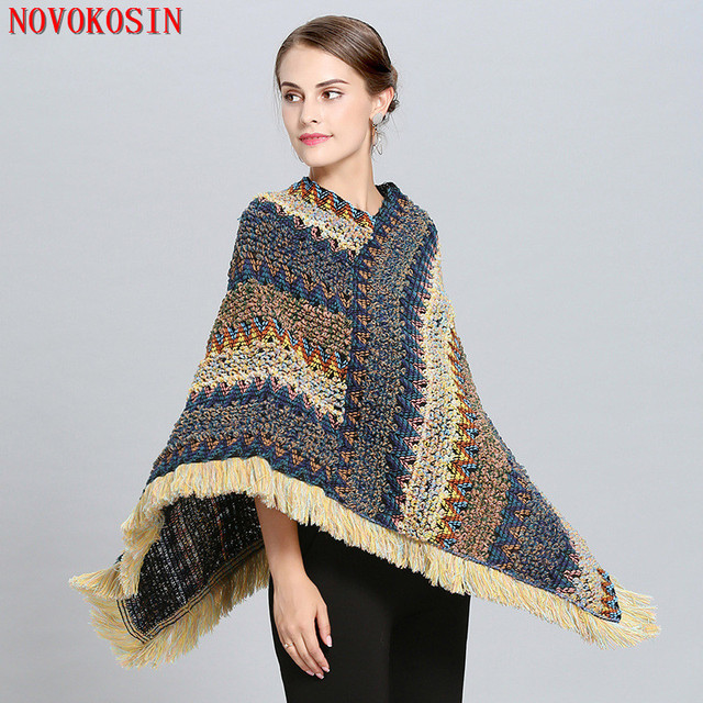 2018 Capes Lady Knitted Poncho Hooded Autumn Winter Fashion Sweater