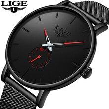 Image of LIGE Watches Men Top Brand Luxury Fashion Ultra-Thin Mesh Belt Quartz Watch Men Casual Waterproof Sport Watch Relogio Masculino