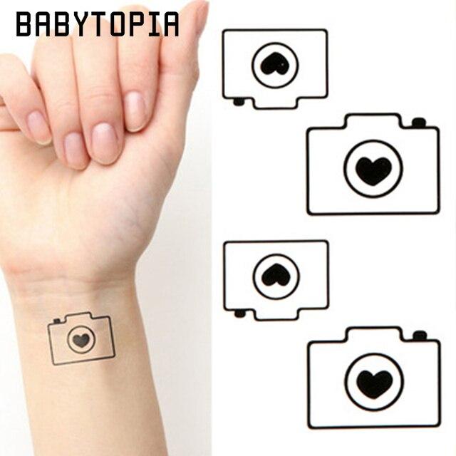 1 Pc Wodoodporna Tymczasowa Naklejka Tatuaż Czarny Aparat Tymczasowe
