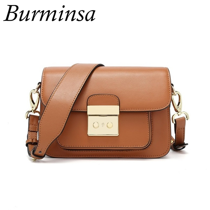 Burminsa Brand Genuine Leather Bags Female Small Wide Strap Shoulder Bags Designer Clutch Hand Bags Crossbody Bags For Women genuine leather women messenger bags rivet small flap shoulder bag crossbody bags designer brand ladies female clutch hand bags