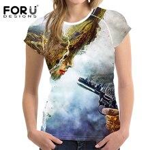 FORUDESIGNS camiseta de impresión de caracteres mujeres diseño creativo  divertido camiseta mujeres ropa para niña pistola e6f82652b6979