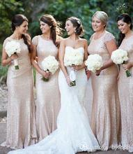 2016 Newest Gold Sequins Bling Long Bridesmaid Dresses Cap Sleeve Scoop Party Formal Dress Cheap Bridesmaid Gowns B17
